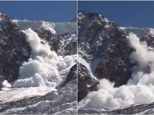 The avalanche broke out under the Col du Midi, in the Mont-Blanc massif. • © Philippe Nicollin.