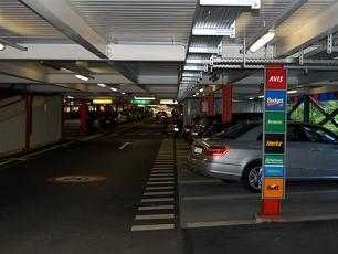 Level 1, every car hire company has its own marked section of the P51 car park
