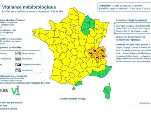 Regional weather alert warning. photo source: @vigilance.meteofrance.com