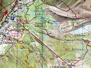 Carte La Trapette: ski de randonnée en Chamonix