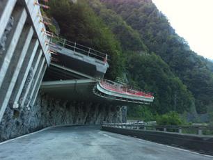 Egratz Viaduct route protection concrete blocks