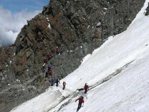 Thousands of tourists climb Mont-Blanc every year on the Gouter Couloir.