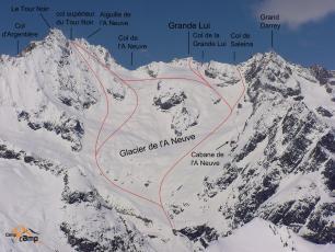 Col Supérieur du Tour Noir (3690 m) culoar E and NE.  Photo source: @www.camptocamp.org