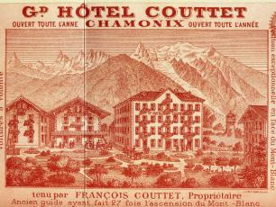 Old stamp that shows the three Couttet buildings, photo source @http://www.blogdechristineachamonix.fr