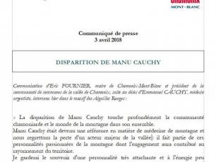 Press relase from Eric Fournier, Mayor of Chamonix Mont-Blanc