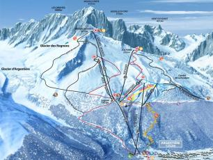 The Grands Montets winter map