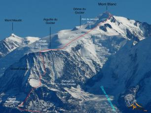 Mont Blanc - Voie normale par le Goûter. Photo source : @www.camptocamp.org
