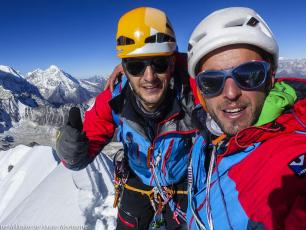 Max Bonnoit and Pierre Sancier on the summit of Pangbuk North (6589 m), Nepal, After having made the first ascent of Tolerance Zero up the mountain's North Face. Photo source @Groupe Militaie de Haute Montagne Chamonix