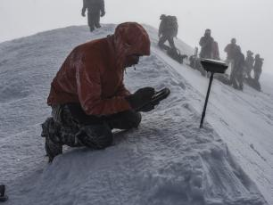 The team of surveyors at the top of Mont Blanc. Photo source: @www.ledauphine.com