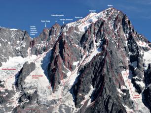 Grandes Jorasses face sud et les itineraires d'alpinisme @ Photo: Montagnes Magazine