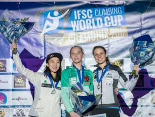Women's podium, from left: Jain Kim (2nd), Janja Garnbret (1st) and Anak Verhoeven (3rd). Photo source: @http://www.ifsc-climbing.org