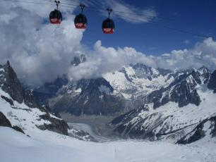 gondolas on Mont Blanc massif