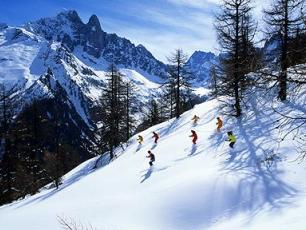 Skiing in Chamonix valley