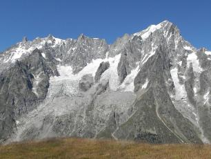 the Planpincieux Glacier (on the left) is on the brink of collapse, photo source @https://en.wikipedia.org/wiki/Planpincieux_Glacier, licensed under CC BY-SA 4.0