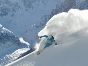 Skier performing in Chamonix Valley