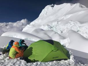 Three French mountain guides open a new route in alpine style in the south face of Nuptse (7,861m). Photo source: @www.facebook.com/pg/legangdesmoustaches