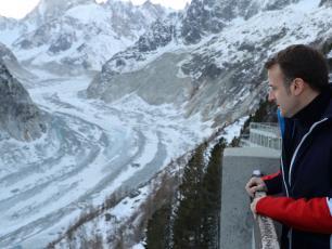 President Macron visiting Mer de Glace in Chamonix, photo source @theguardian.com