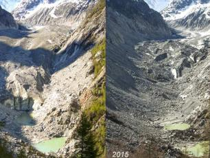 Mer du Glace in 2005 vs Mer du Glace in 2015. Mer du Glace is dramatically shrinking.