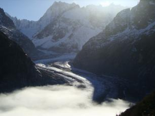 Mer de Glace has been shrinking rapidly over the past 30 years, photo: Steve Baldwin