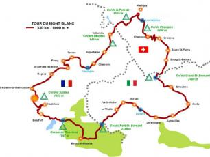 Road Bike the Tour of Mont Blanc Cycling map