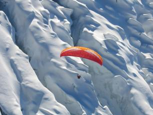 Paragliding above the Chamonix glaciers