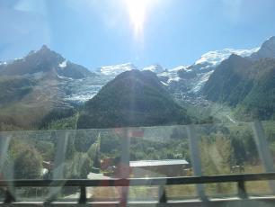 Glacier des Bossons vue from the Autoroute Blanche