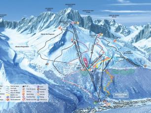La carte détaillée de Grands Montets - pentes, lifts, snow park