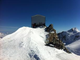 The Abri-Vallot Shelter (4362m) on the normal route of Mont Blanc