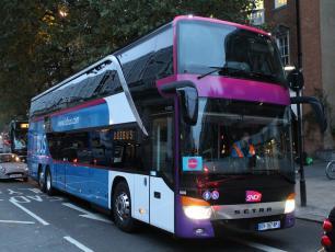 Ouibus bus, taken from https://www.flickr.com/photos/34085730@N06/