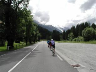 Road biking the road up to Col de la Forclaz (Switzerland)