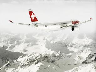 Swiss Airlines flies over the Alps