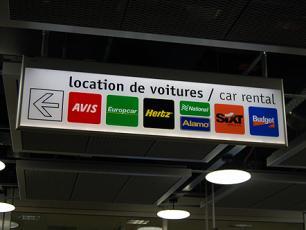 Car Hire Sign at Geneva Airport