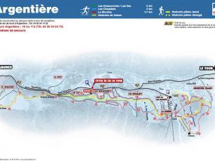Plan des pistes de ski de fond d'Argentière