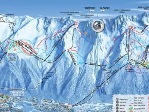 Plan domaine skiable de Brévent et la Flégère - plan des pistes de ski