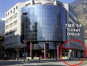 TMR SA Ticket Office in Martigny, in the building opposite the rail station, 25m to the right after exiting the station