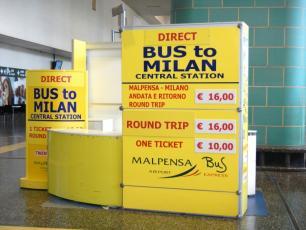 Malpensa Bus Express Ticket Office inside Terminal
