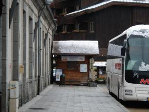 Bus Tickets in front of the rail station in Chamonix Mont-Blanc