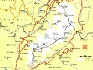 Carte Tour du Mont Blanc