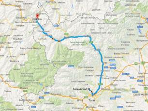 Caselle Airport to Chamonix Mont-Blanc Map