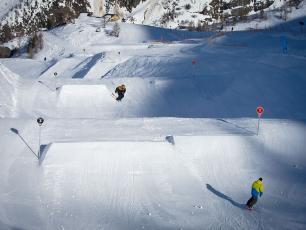 Snowpark de Grands Montets sur le Somaine Skiable de Grands Montets