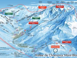 Plan domaine de ski de la Vallée de Chamonix et la zone de validité des forfaits de ski