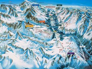 Plan des domaines skiables de la Vallée de Chamonix