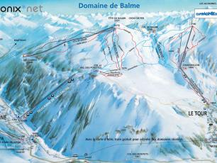 Le Tour / Balme / Vallorcine Ski Areas Map and ski Slopes Map