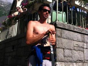 Kilian Jornet Burgada at the Church Saint Michel after smashing the record
