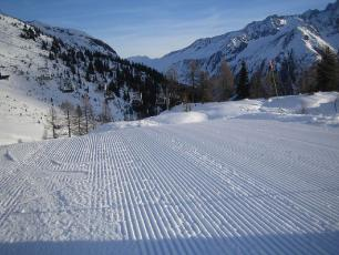 A very well groomed slope at the Flegere Ski area