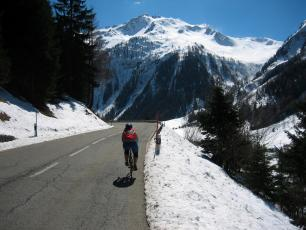 Cycling to the Col des Montets at spring