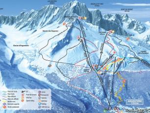 Plan domaine skiable des Grands Montets - plan des pistes de ski