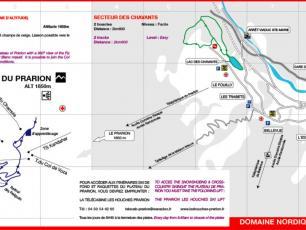 Plan des pistes de ski de fond en Les Houches