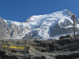 La Jonction, where Taconnaz Glacier Splits from the Bossons Glacier
