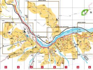 Les Houches: plan de la ville, chemins, rue, noms des rues